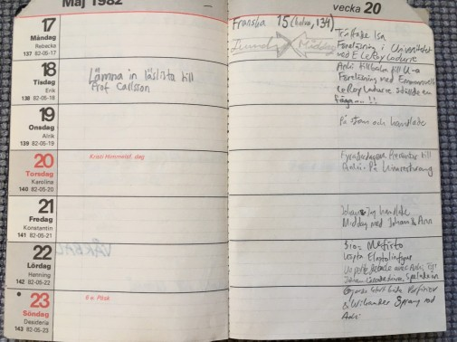Almanacka maj 1982. Munta på gång inför professor Sten Carlsson.