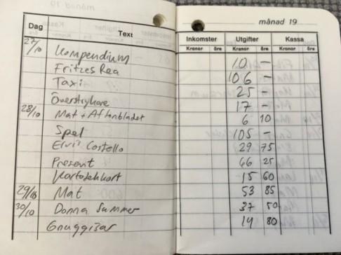 Kassabok hösten 1980.