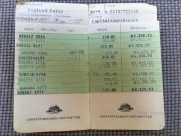 Min bankbok sommaren 1980.
