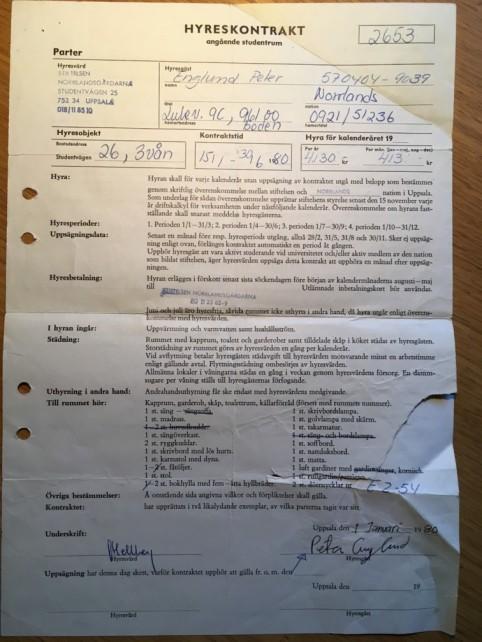 Kontrakt på rum i studentkorridor.
